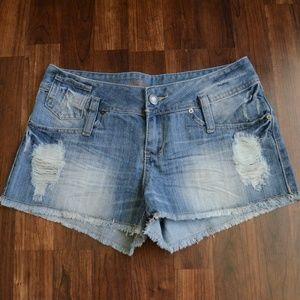 Revolution SZ7 Destructed Denim Shorts
